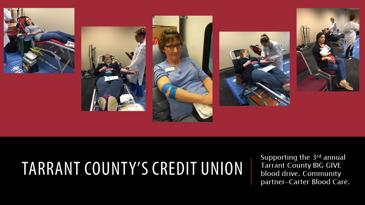 tccu staff pictured giving blood